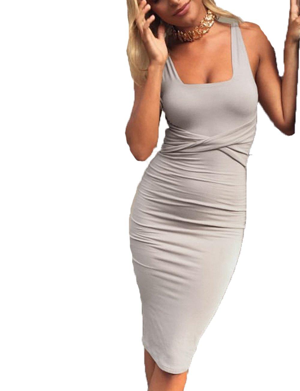 Available at Amazon: UZZDSS Sexy Sleeveless Velvet Warm Stretchy Cross Criss Tank Black Dark Blue Gray White Bodycon Bandage Dress