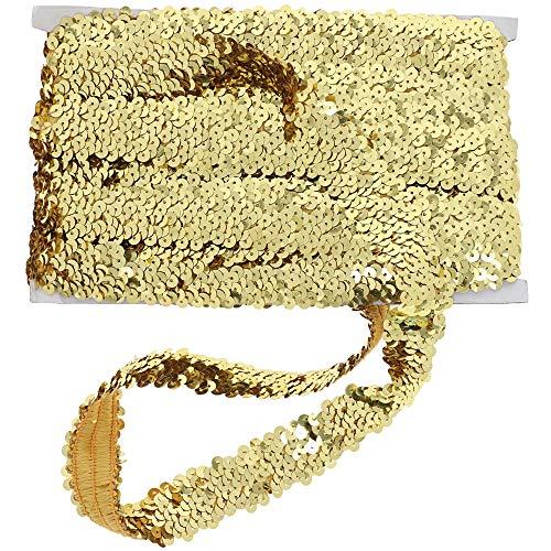 Bright Creations Elastic Sequin Ribbon Trim, Gold