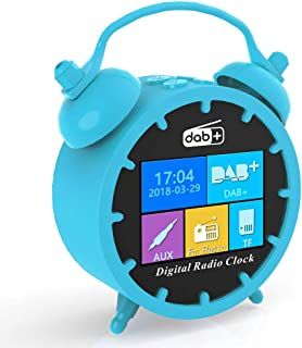 Honeytecs Portable DAB FM Radio Alarm Clock Color LCD Time Display Snooze BT Speaker MP3 Player Support TF Card Rechargeab...