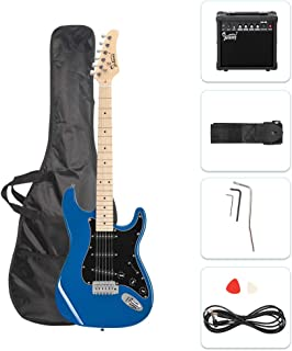 GLARRY Full Size Electric Guitar for Music Lover Beginner with 20W Amp and Accessories Pack Guitar Bag (  Blue )