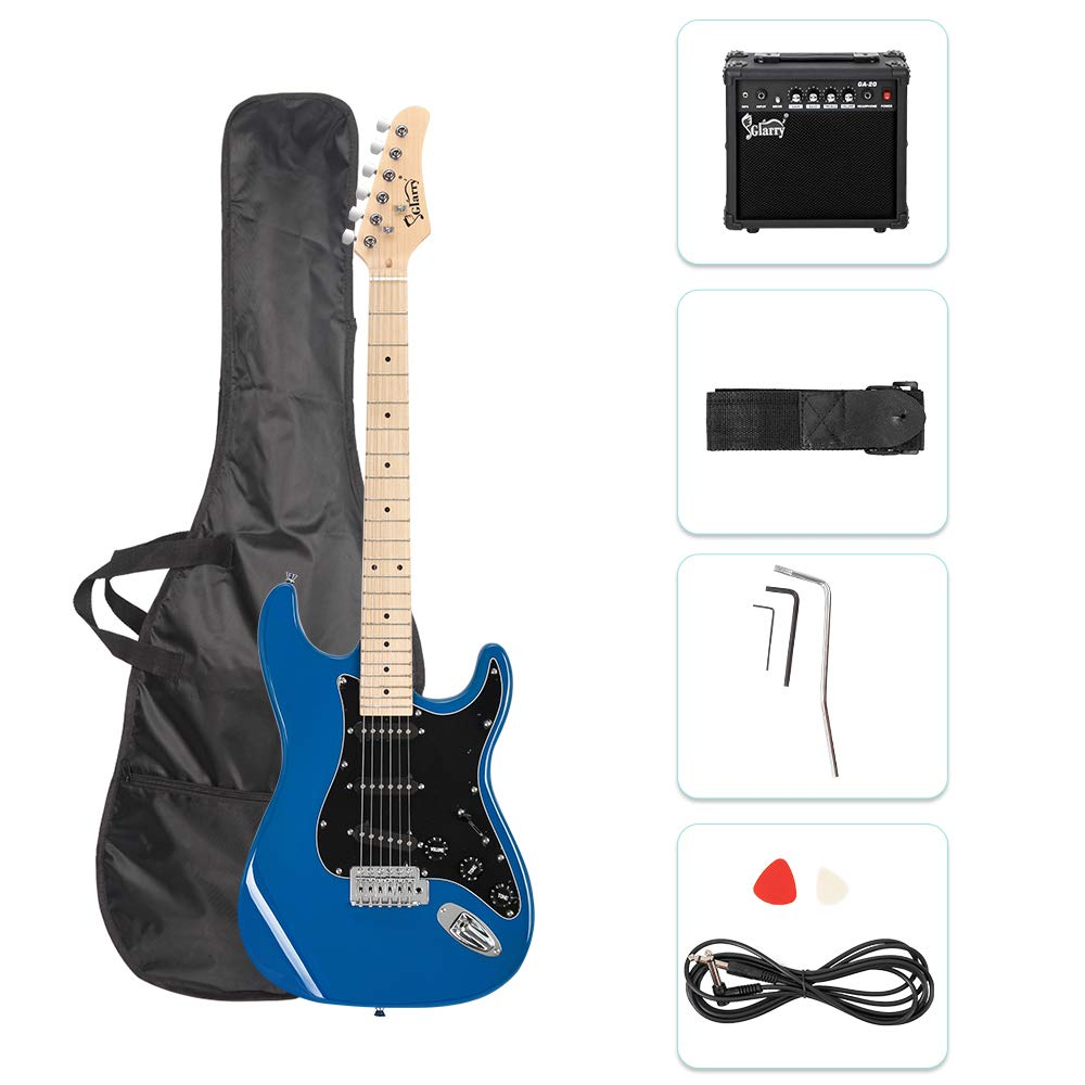 ISIN Full Size Electric Guitar for Music Lover Beginner with Amp and Accessories Pack Guitar Bag Black