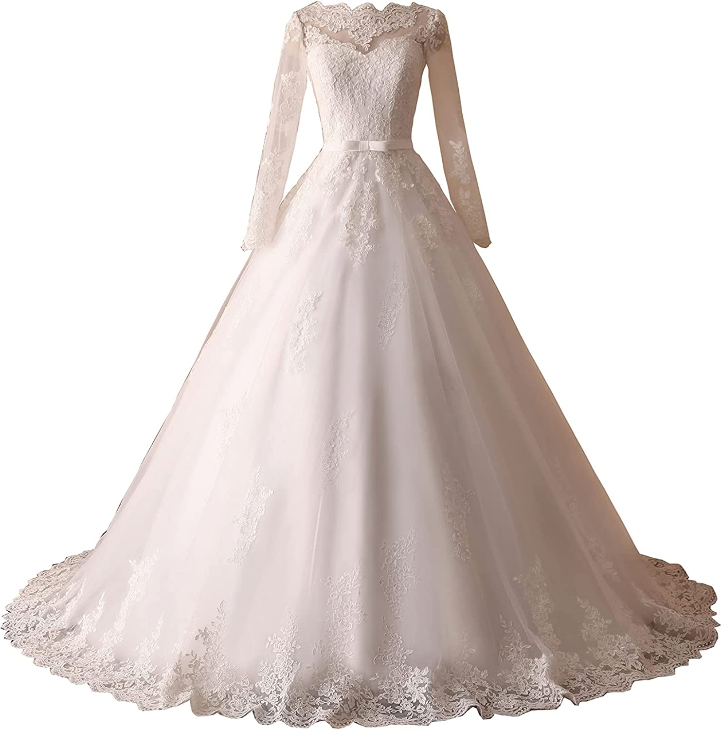 Women's Lace Mermaid Beach Wedding Dresses for Bride 2021 with Long Sleeves Bridal Gowns CX07