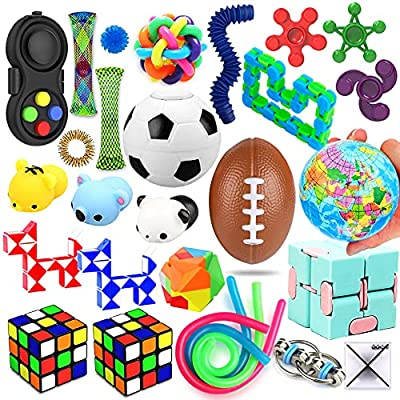 28 Pack Sensory Toys Set, Relieves Stress and Anxiety Fidget Toy for Children Adults, Special Toys Assortment for Birthday Party Favors, Classroom Rewards Prizes, Carnival, Pi?ata Goodie Bag Fillers