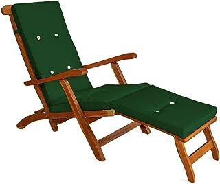 Detex Almohadilla para Tumbona cojín para Silla sillón Verde con Aspecto de Lino con Correas de sujeción para Interior Exterior