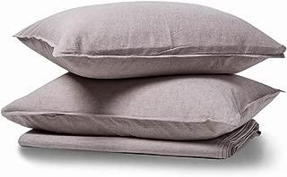 meadow park Linen Cotton Duvet Cover Set 3 Pieces, Vintage Garment Washed, Super Soft, Basic Style, Queen Size, Natural Linen Color