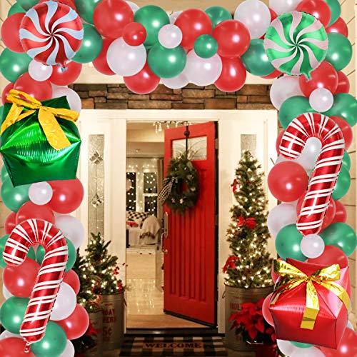 JOYMEMO Globo de Navidad Grande Guirnalda: 120 Piezas de Adornos navideños Rojos y Verdes con Globos de bastón de Caramelo, Caja de Regalo, Globos para Vacaciones de Invierno, año Nuevo, cumpleaños