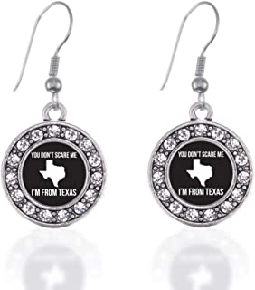 Silver Circle Charm French Hook Drop Earrings with Cubic Zirconia Jewelry