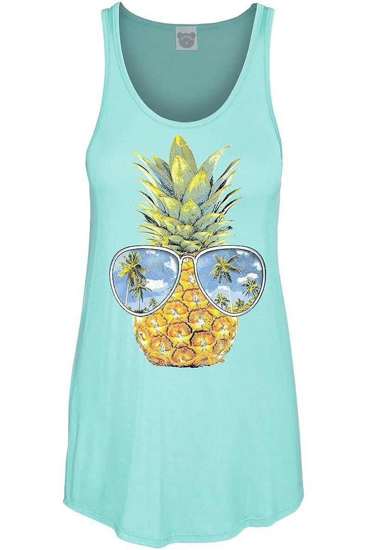 COLORBEAR Women's Pineapple W/Sunglasses Graphic Scoop Neck Tank TOP