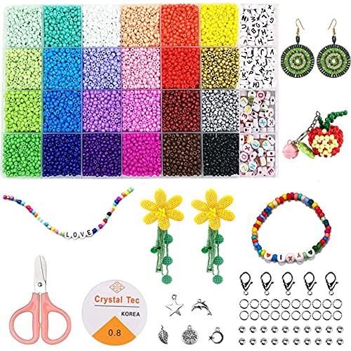 ADOHOX Cuentas de Colores, 3mm 24 colores 10000 Piezas Mini Cuentas y Abalorios Cristal para Niños Adultos Bricolaje Fabricación de Joyas