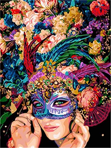 YEESAM ART Pintura por números, máscara para adultos, 16 x 20 pulgadas, pintura al óleo, arte de pared (niña, con marco)