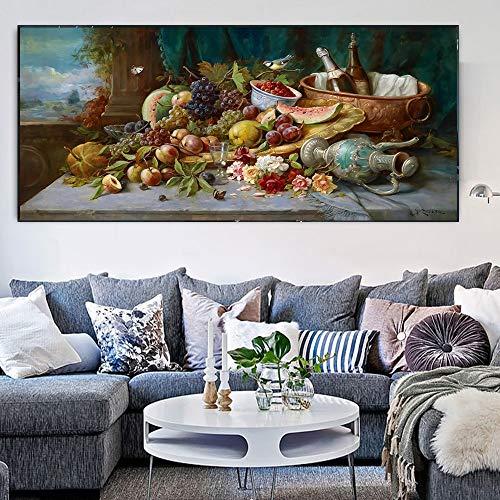 ganlanshu Rahmenlose Malerei Niederländisches Stillleben Wandbild Leinwand Kunstplakat Aquarell großes Ölgemälde Obst PflanzenölgemäldeZGQ4306 40X80cm