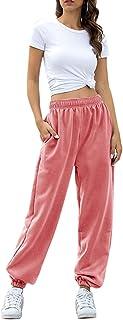 Fixmatti Women Joggers Pants with Pockets Workout Running Pants Elastic Waist Pink M