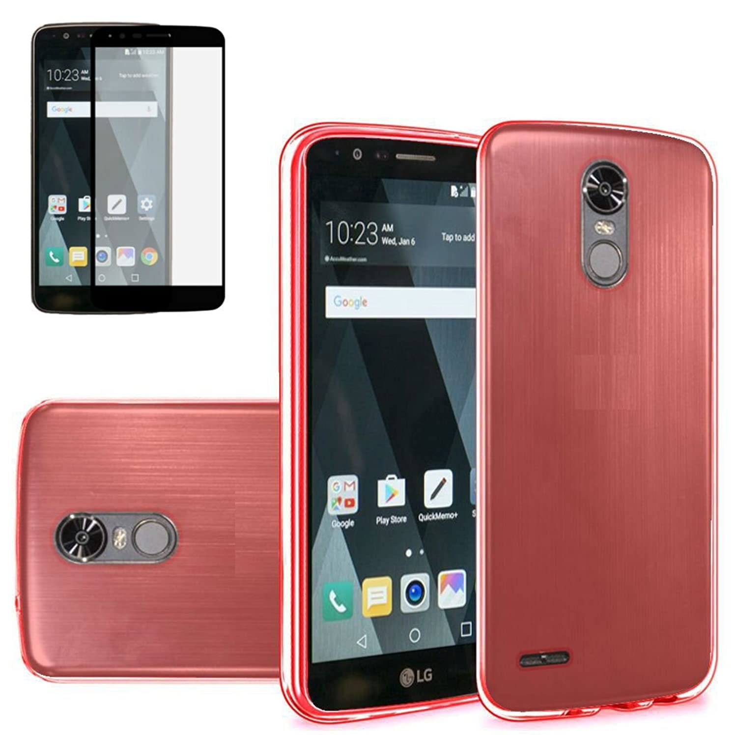 Tempered Glass+Slim TPU Rubber Case Cover For LG Stylo 3 / Stylo 3 Plus / Stylus 3 2017 Phone (Red)