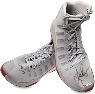 KEVIN LOVE SIGNED & INSCRIBED 2016-17 NIKE HYPERDUNK GRAY/GOLD SWOOSH GAME-WORN SHOES -L1