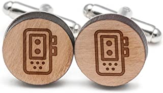 Wooden Accessories Company Voice Recorder Cufflinks, Wood Cufflinks Hand Made in The USA