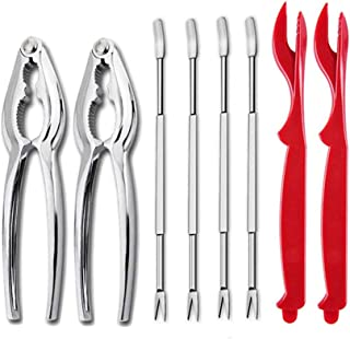 Seafood Tools Set 2 Crab Lobster Crackers 2 Shellfish Sheller Opener and 4 Stainless Steel Forks