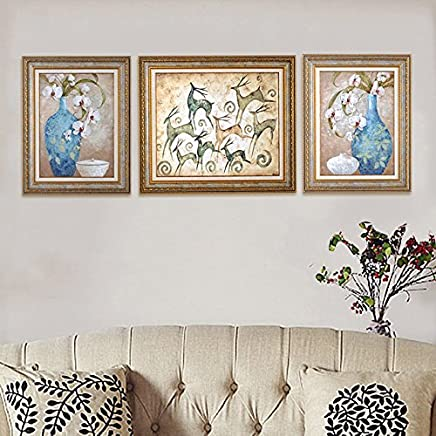 Patined European Style Sofa Background Painting Imitation Oil Painting Living Room Wall Painting Bedroom Garden Flower And Bird Decorative Painting With Frame Painting Moore Park Set Three Decoration