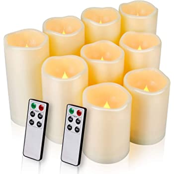 "Flameless Candles, LED Candles Outdoor Candles Waterproof Candles(D: 3"" x H: 4""5""6"") Battery Operated Candles Plastic Pack of 9 Flameless Pillar Candles"