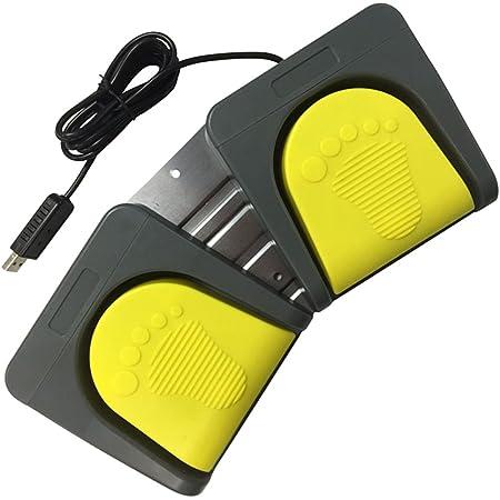 Baosity USBフットスイッチ PC フットペダルスイッチ 2フットコントロール ゲーム マルチメディア マウス 足踏みスイッチ メカニカル - イエローペダル+グレーベース