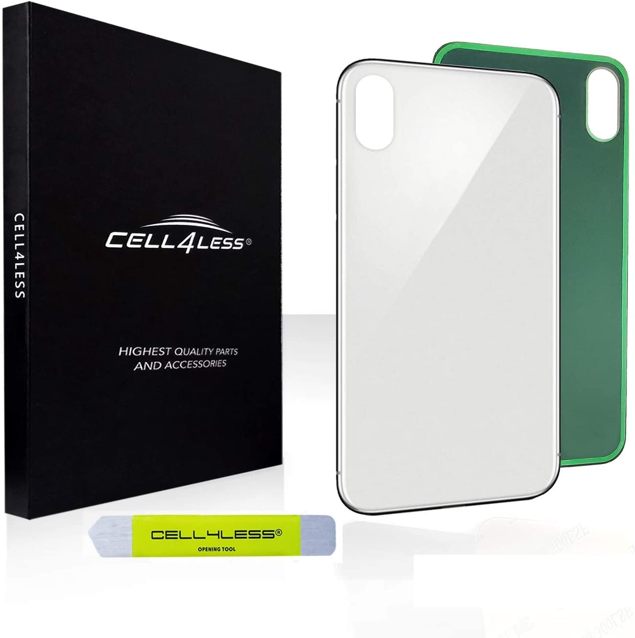 CELL4LESS Back Glass Replacement Compatible w/The iPhone Xs MAX Including Wide Camera Hole, Adhesive & Removal Tool (Silver)