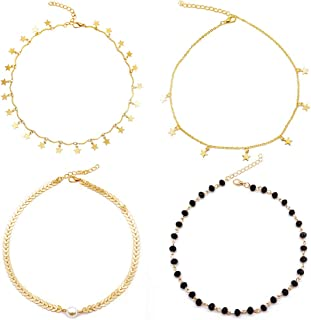 14K Gold Star Choker Necklace - 4 Pieces Set Dainty Pendant Handmade Necklace as Double Layer Adjustable Bracelet for Women Girls
