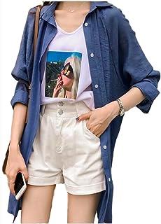 [アンリ] ロングシャツ シャツ ワンピース オーバーサイズ とろみ ゆったり 薄手 透け感 羽織もの M ~ XL レディース