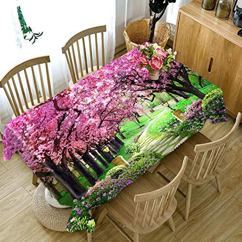 XXDD Mantel 3D de Estilo Rural con diseño de Flor de Cerezo Rosa, Mantel Rectangular de algodón, Cubierta de Mesa Impermeable, variación del hogar A3