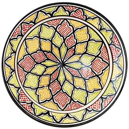 Orientalische Keramikschale Keramikteller Rund Abanob Ø 35cm Groß | farbige marokkanische Keramik Schale Teller bunt aus Marokko | Orient große Keramikschalen flach Geschirr orientalisch handbemalt