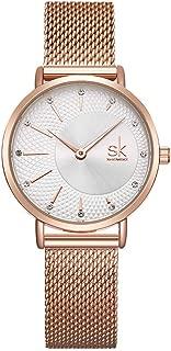 Mujer Cuarzo Reloj de pulsera correa de acero inoxidable Resistente al agua Luxus analógicos Relojes Plata Rose Gold