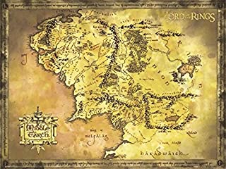 """Poster de tamaño gigante """"El Señor de los Anillos"""" Mapa de la Tierra Media (135,5cm x 98cm) + 1 paquete de tesa Powerstrip..."""