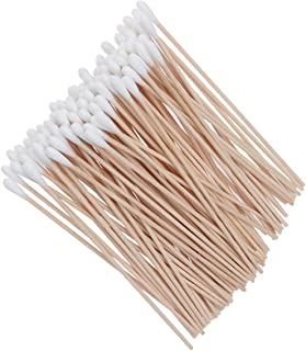 ROSENICE Cotton Swabs 100Pcs Long Wood Handle Medical Swabs Ear Cleaning Wound Care Cotton Buds Sanitary Round Cotton Tip Swab