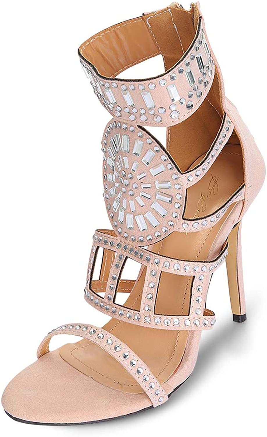 KCatsy Trendy Pointed Toe Hollow Out Rhinestone Stiletto Heel Sandals Women shoes