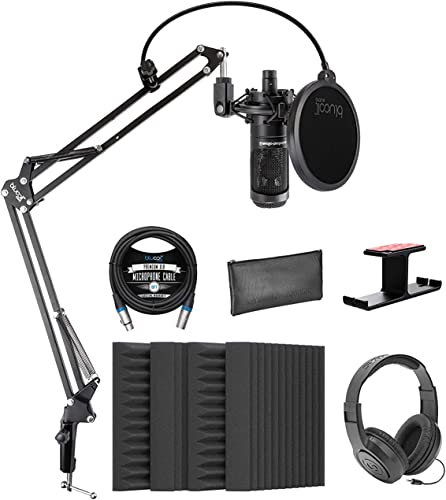 """new arrival Audio-Technica AT2035 Cardioid Condenser Microphone Bundle with Blucoil 4x online 12"""" Acoustic Wedges, 10' Balanced XLR Cable, Boom Arm Plus Pop Filter, Aluminum Headphone Hook, 2021 and Samson SR350 Headphones online"""