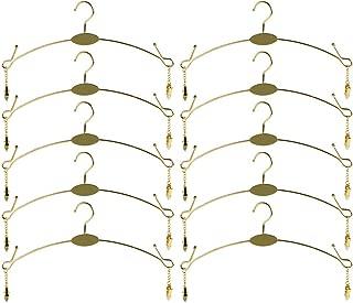 Exttlliy 10PCS Metal Underwear Bra Rack Durable Fashion Children Clothes Hangers Hook Lingerie Shop Display Hanger with Clips (Gold)