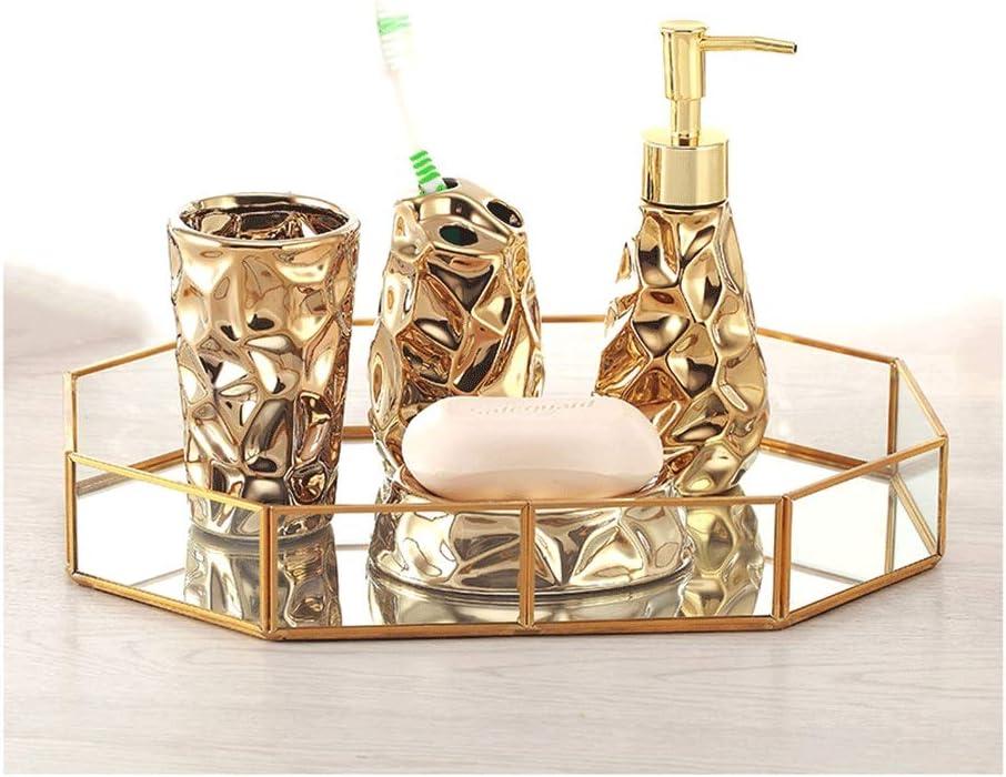 Mesa Mall MENGGE Refillable Golden Bathroom Accessories Set Ceramic Soap Industry No. 1