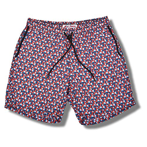 Mr. Swim Men's Swim Trunks with Mesh Lining - Swimsuit & Swimshorts - Quick Dry Swimming Bathing Suit with Pockets - Pebble Red, Medium
