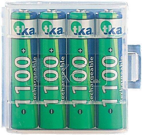tka Köbele Akkutechnik AAA Akku: 4er-Set NiMH-Akkus Typ AAA/Micro, 1.100 mAh, mit Aufbewahrungs-Box (Micro Akku)