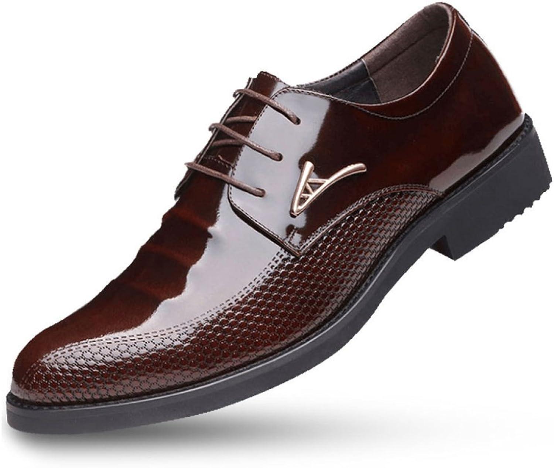 Derby läder skor skor skor Derby Lace -Up Patent Tips Business Casual Mans skor läder High skor 6cm for Work Office Party  letar efter försäljningsagent
