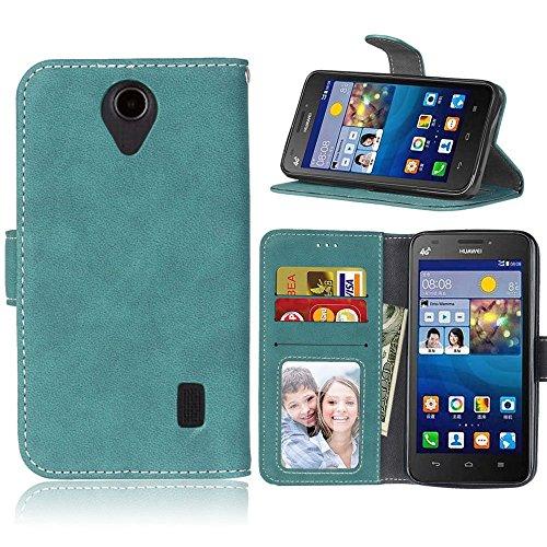 pinlu® Funda Para Huawei Y635 (5pulgada) Alta Calidad Función de plegado Flip Wallet Case Cover Carcasa Piel Retro Scrub PU Billetera Soporte Con Ranuras Pequeño Azul