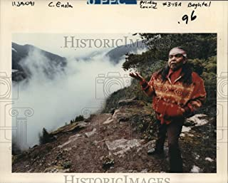 Historic Images - 1991 Press Photo Religious Practitioner Rip Lone Wolf Overlooking Rhododendron