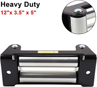 LSAILON 4-Way Roller Fairlead 12 x 3.5 x 5 inch Stainless Steel Winch Roller Fairlead Replacement Fit for 12000 LB Jeep SUV Truck ATV UTV SUV Winch