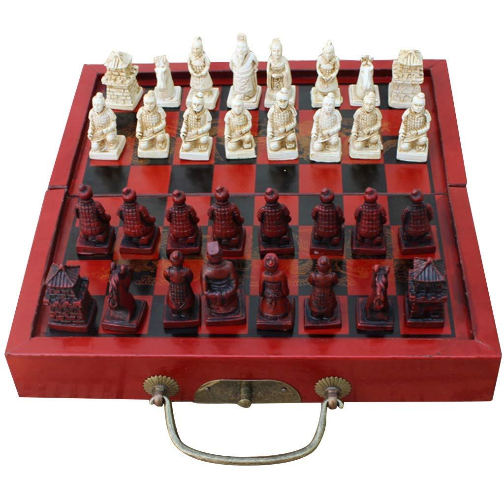 LQW HOME Ajedrez Tamaño pequeño Plegables Antiguos Chinos de ajedrez Juegos de Mesa de Madera Conjunto de ajedrez: Amazon.es: Hogar