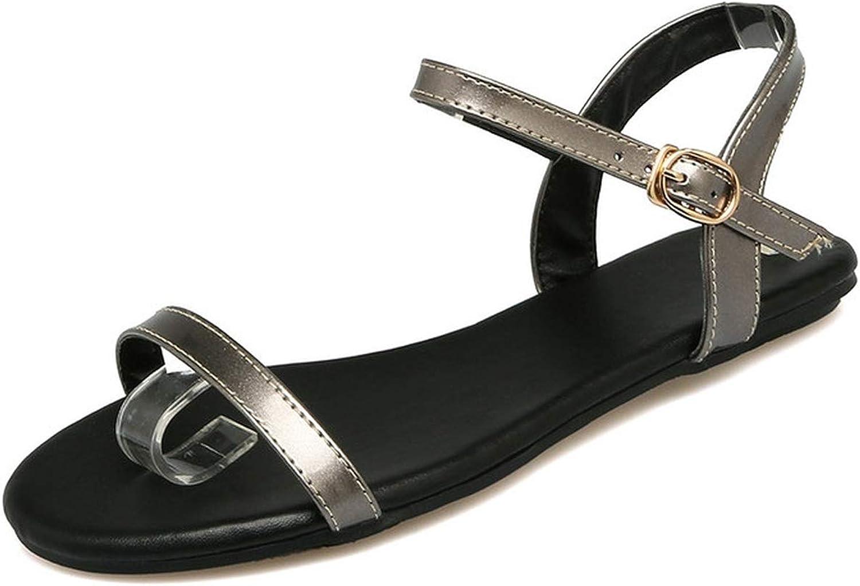 Women Sandals Summer Pu Leather Women shoes Platform Buckle Casual Flats Women Sandals 34-43