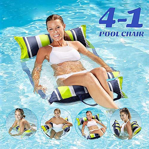 COWINN Aufblasbares Schwimmbett, Wasser-Hängematte 4-in-1Loungesessel Pool Lounge luftmatratze Pool aufblasbare hängematte Pool aufblasbare hängematte für Erwachsene und Kinde