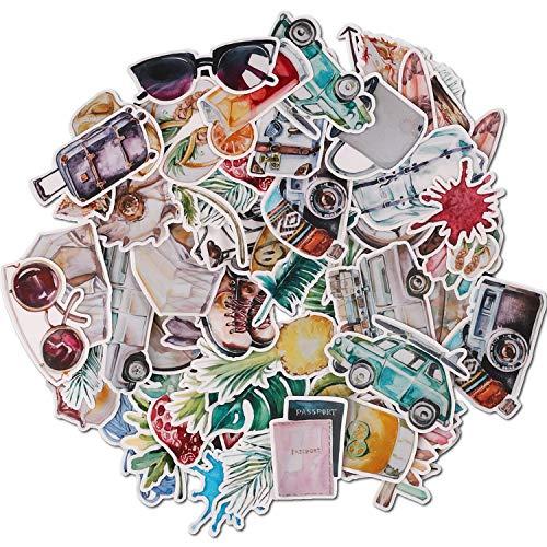 Navy Peony Sticker Bomb für den Urlaub | kleine wasserfeste Aufkleber für einen Vintage Koffer | Aufkleber für Telefon sowie Laptop Sticker | Coole Sticker für Einklebebuch, Tagebuch und Notizbuch