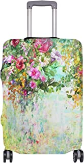 Mydaily Watercolor Flower Spring Floral Luggage Cover Fits 18-32 Inch Suitcase Spandex Travel Protector