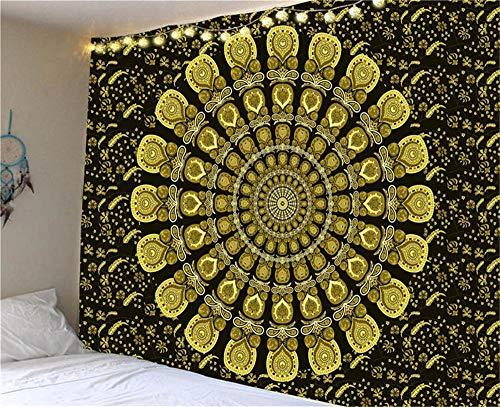Tapiz indio con mandala grande, para colgar en la pared, playa, para camping, viajes, colchón, colchoneta de estilo bohemio, 200 cm x 150 cm
