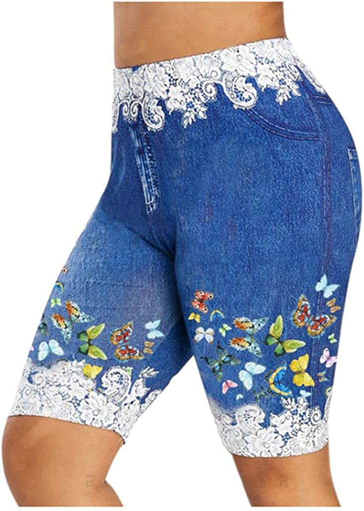 Women's Plus Size Shorts Skinny D Faux Butterfly online shopping 2021 autumn and winter new Casual Jeggings