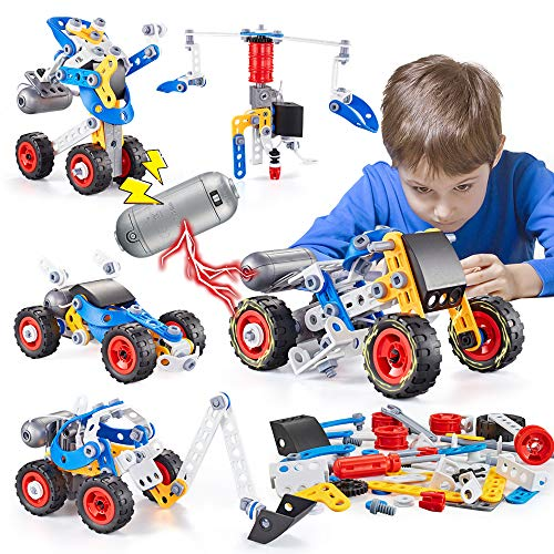 kidpal Erector Set for Boys 6-12, Building Toys Kit, 5 in 1 STEM Toy with Electric Power Motor for Kids, Construction Toys for Age 5 7 8 9 10 11 Years Yrs Old, 113 PCS DIY Engineering Building Blocks