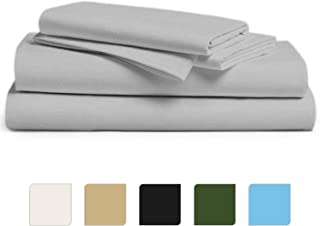 Lussona Exclusive 1000 Thread Count 100% Egyptian Cotton Italian Finish Solid Bed Sheet Set with 19